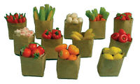 12 Bags of Fruit & Vegetables 12th Scale Dolls House Miniatures and Fairy Doors