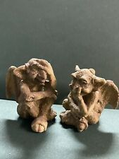 """Miniature Gargoyle Figurines with personality x 2 statues Carved, Heavy 1.75"""""""