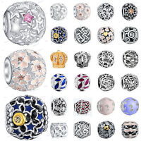 925 European Sterling Openwork CZ Silver Charm Bead for Charms Bracelet Necklace