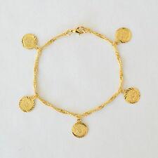 Coin Bracelet Persian 24k Gold Plated Bracelets 12mm Coins Size 8.5 Inches
