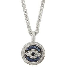 JUDITH RIPKA Lucky Evil Eye Charm Pendant Necklace Sapphires Sterling Silver