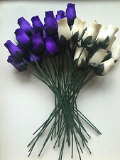 Mothers Day Gift 100 Cadburys Purple & Ivory Wooden Roses Flowers Wholesale