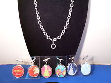 Christmas Charm Necklace Chain 18 inch with 6 Reversible Charms 123 3