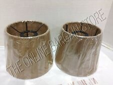 2 Pottery Barn Burlap Rustic Track Light Lamp Pendant Chandelier Shades Natural