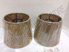 2 Pottery Barn Burlap Rustic Track Light Lamp Pendant Chandelier Shades Natural