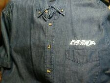 F/A-22 RAPTOR Lockheed Martin Denim Button Front Mens Shirt Size Large