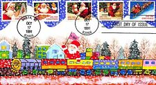 First Day Cover Hand Painted Santa Claus Riding a Christmas Train 22/30~109062