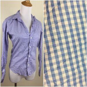 NWOT FRANK & EILEEN Womens XXS Blue Lt Pink Gingham Crinkle BARRY Button Shirt