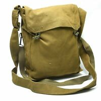Rare Czech Military Canvas Bread Bag W/Shoulder Hip Strap wooden toggle Closure