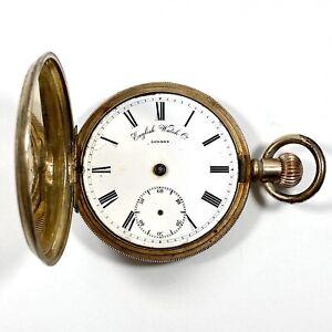 10ct Rose Gold Filled Pocket Watch Elgin Case 1910s (Water Damage Needs Repair)