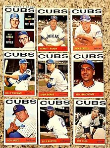 Lot of 9 1964 Topps CHICAGO CUBS vintage cards RON SANTO,   BILLY WILLIAMS