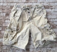 ABERCROMBIE FITCH heavy Distressed Faded 31 Khaki Shorts Tan Cargo Vtg