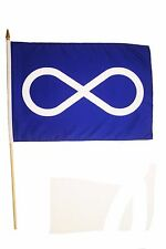 "METIS - FIRST NATIONS 12"" X 18"" INCH COUNTRY FLAG BANNER ON 2 FOOT WOODEN STICK"