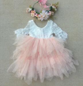WHITE & PEACH Birthday Party Flower Girl Toddler Baby Tutu Dress Australia