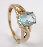 100% Genuine Vintage 9ct Yellow Gold 1.52 carats Natural Topaz Ring Sz 6.5 US