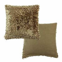"2XLUXURIOUS LATTE SHAGGY CHENILLE TWIST THICK SUPERSOFT 17""-43CM CUSHION COVERS"