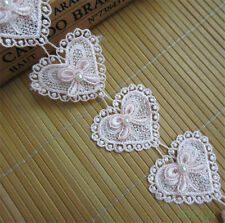 1 yard Heart Bow Pearl Lace Trim Wedding Bridal Ribbon Applique DIY Sewing Craft