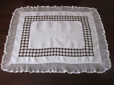 BEAUTIFUL HAND WORKED RECTANGULAR MONOGRAMMED DRAWN THREAD & LACE TABLECENTRE
