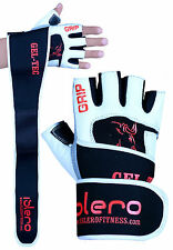 EVO Fitness Leather Weightlifting Gloves Gym Straps Wrist Support  Wraps Cycling