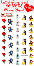 Disney Beauty and the Beast Nail Decals Clear Vinyl PEEL and STICK set of 35