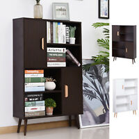 Open Bookcase Shelves Unit Storage Cabinet Wooden Display w/ Two Doors