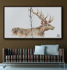 "Painting Animal STAG 67"" Original handmade oil painting on canvas, thick layers"