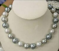 NEW 8mm Elegant white Silver Gray Shell Pearl Necklace 18''