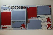 Our Boys ~  2 pre-made scrapbook pages paper piecing layout