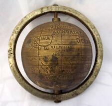 Antique Hand Crafted Brass Globe Old Brass World Map Carved Globe Rich Patina