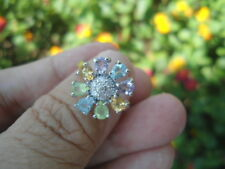 Natural SKY BLUE TOPAZ, AMETHYST, CITRINE & CZ STERLING SILVER Flower RING S6.0