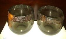 Dorothy Thorpe Silver Rim Designed Glasses Roly Poly 8 oz set of 2