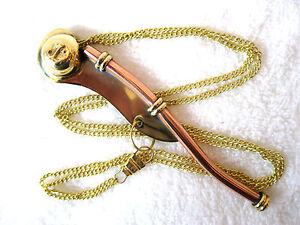 Sifflet de Bosco Env. 12cm Cuivre Laiton avec 90cm Chaîne et Instruction