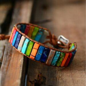 7 Chakra Natural stone Leather Bracelet Bangle Beads Handmade knot Women Charm