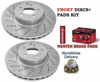 FOR MERCEDES E CLASS E220 SPORT 2009-> FRONT DRILLED BRAKE DISCS SET + PADS KIT