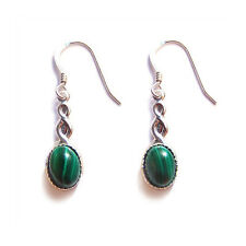CELTIC earrings Green Malachite Sterling silver gothic goth steampunk wedding