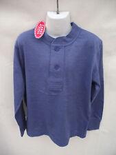 BNWT Boys Sz 8 Candy Stripes Brand Mid Blue Long Sleeve Henley Top