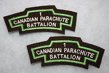 WW2 CANADIAN PARACHUTE BATTALION FELT SHOULDER TITLES LARGE PATTERN SUPERB