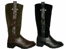 LADIES BLACK AND BROWN KNEE HIGH RIDING WALKING WINTER FASHION BOOT WITH ZIP 3-8