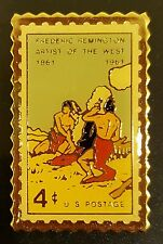 USPS Postal Stamp Pin Frederic Remington Artist of the West 1861 1961 4 Cents