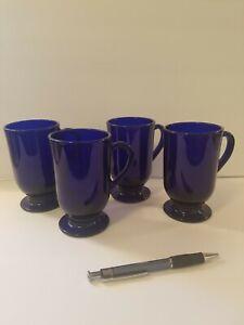 "Vintage Libbey Cobalt Blue Glass ""Irish Coffee"" Footed Mugs (Set of 4)"
