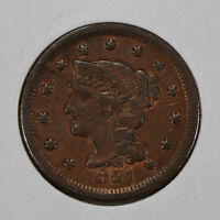 1851 1c Braided Hair Large Cent - VF Coin - SKU-Y1265