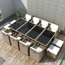 Outdoor Dining Set 33 Pieces Grey/Beige Poly Rattan