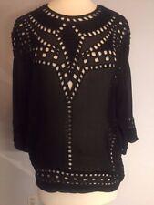 Isabel Marant Etoile SZ FR  34/US 2 Black ETHAN Eyelet Tunic Shirt Top