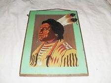 Vintage ~ Wood Painted Indian Picture with Etched Background Cutout