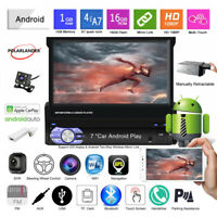 7''1 Din GPS Android Autoradio+Carplay+CAM Écran tactile BT Wifi Miroir Lien FM