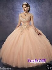 Tulle Ball Gown Quinceanera Dresses Detachable Strap Sweet 16 Dresses Prom Dress