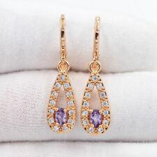 18K Yellow Gold Filled Women Fashion Purple Mystic Topaz Teardrop Earrings