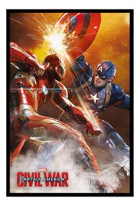 Framed Captain America Civil War Fight Poster New