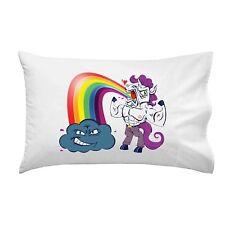 Unicorn Rainbow Puke Smiling Cloud Funny Cartoon Single Pillow Case Soft New