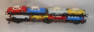 Vintage Fleischmann Germany HO 1472 Metal Auto Transporter With Hammer Cars